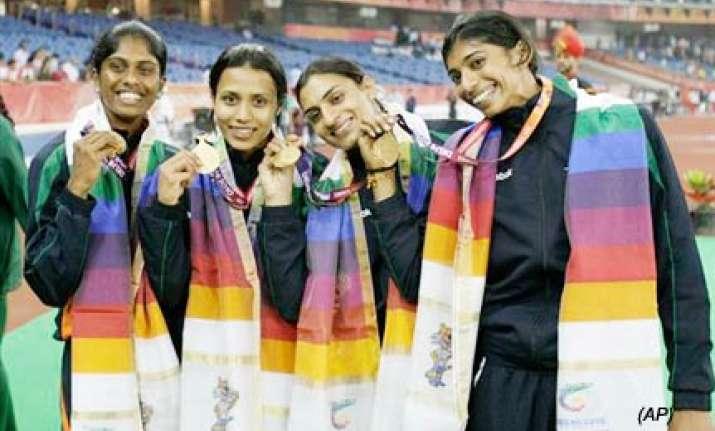indian women s 4x400m relay quartet strike gold