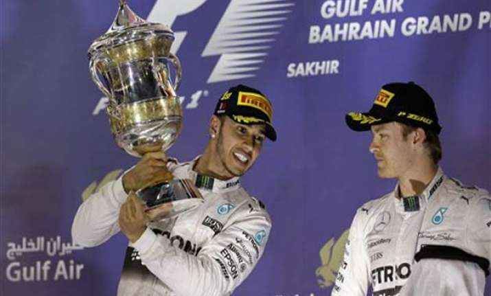 hamilton wins bahrain gp ahead of raikkonen and rosberg