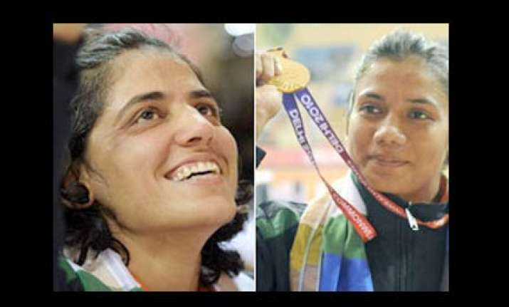 double delight in wrestling as alka anita strike gold