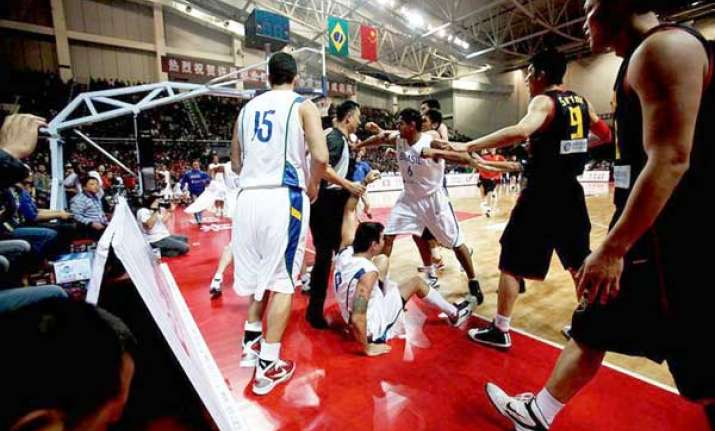 china brazil basketball players bash up one another
