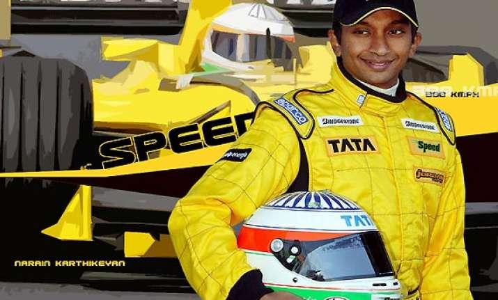 narain karthikeyan zooms to third win in auto gp