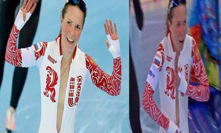 russian speedskater olga graf unzips her skin suit after