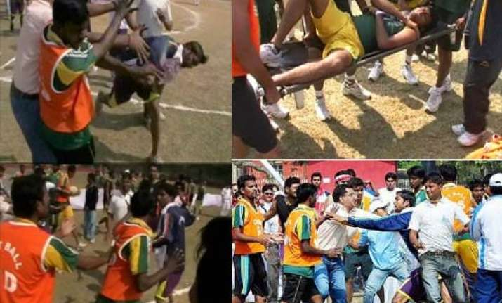 sportspersons fight with one another at national games