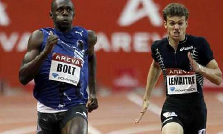 usain bolt beats lemaitre in paris 200 metres