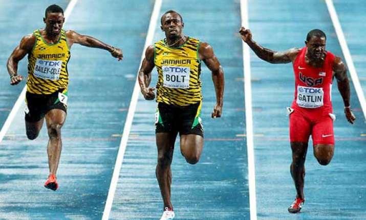 world athletics usain bolt clocks 9.77 sec to win 100 m gold