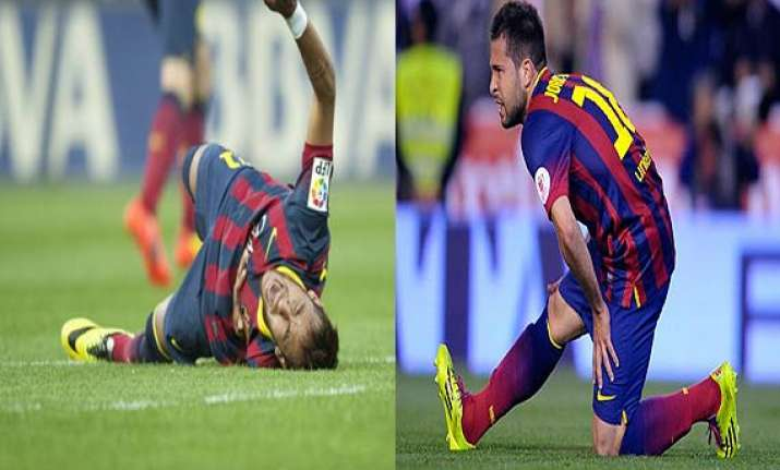 barcelona s neymar alba out for month with injuries