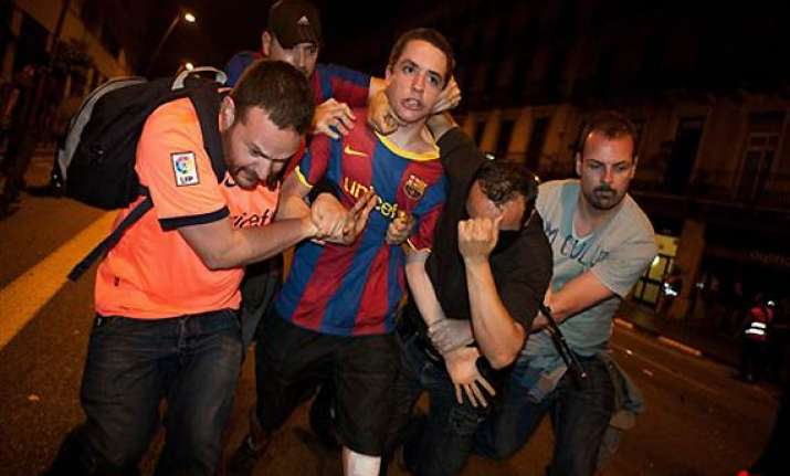 barcelona soccer celebrations turn violent
