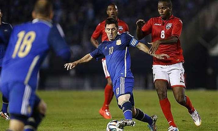 fifa world cup argentina beats trindad tobago in warm up