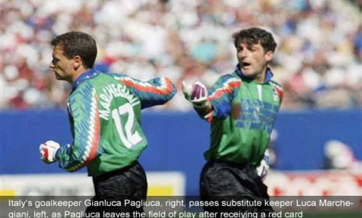 fifa world cup on this day pagliuca becomes 1st keeper sent