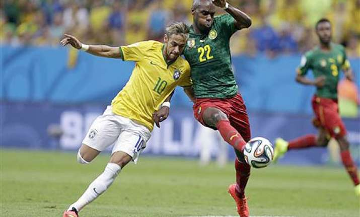 fifa world cup brazil leads cameroon 2 1 at halftime in