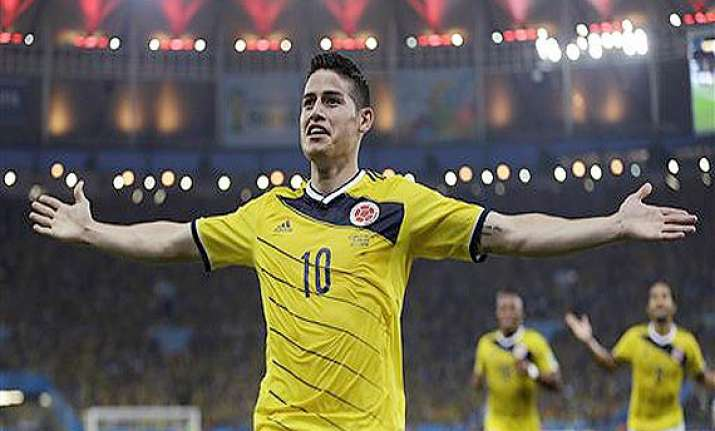 fifa world cup colombia leads uruguay 1 0 at halftime