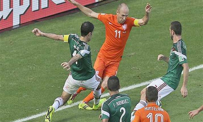 fifa world cup arjen robben falls theatrically to earn