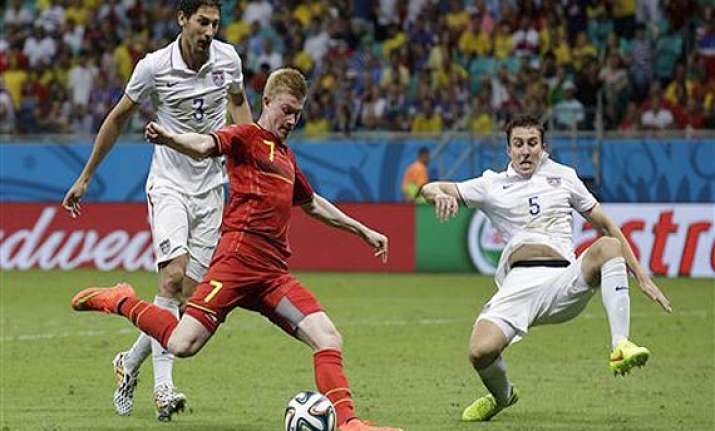 fifa world cup belgium holds on to beat usa 2 1 in extra