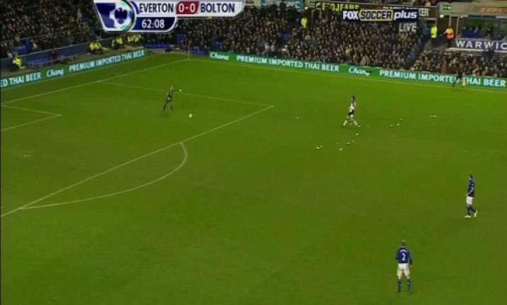 goalkeeper kicks ball from inside penalty area straight