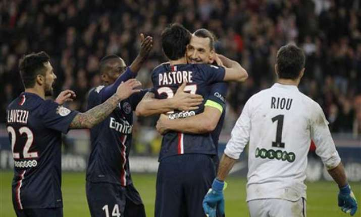 ibrahimovic scores hat trick as psg beats lorient 3 1