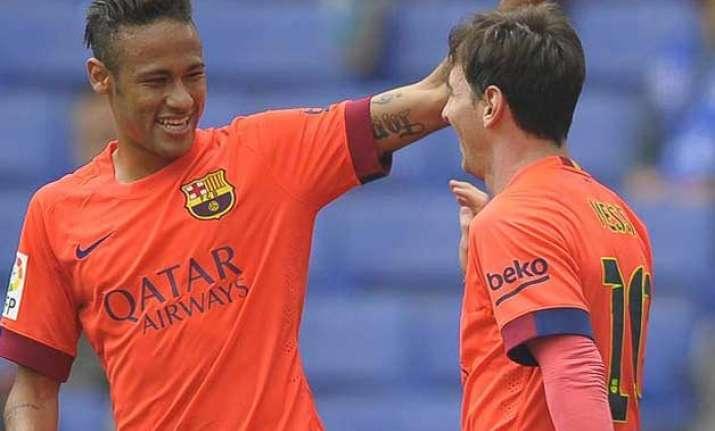 la liga neymar lionel messi score in barcelona s 2 0 win at