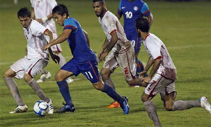 injury time goal gives india 2 2 draw against uae