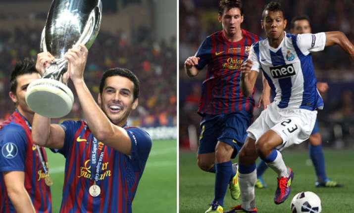 messi fabregas lift barcelona to super cup win