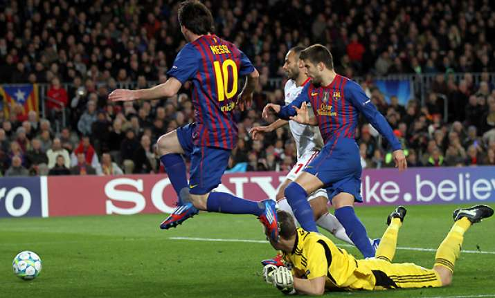 messi scores 5 as barcelona thrash leverkusen 7 1