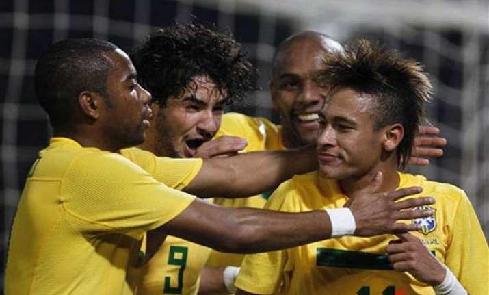 neymar pair helps brazil into quarterfinals