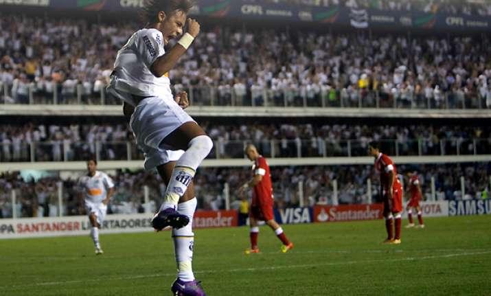 neymar scores 3 goals santos beats internacional