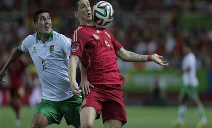 spain warms up for wcup with 2 0 win over bolivia
