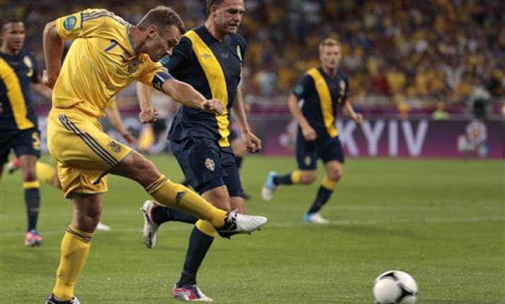 ukraine beats sweden 2 1 at euro 2012