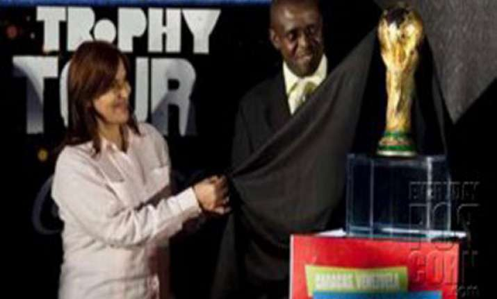 world cup trophy arrives in venezuela