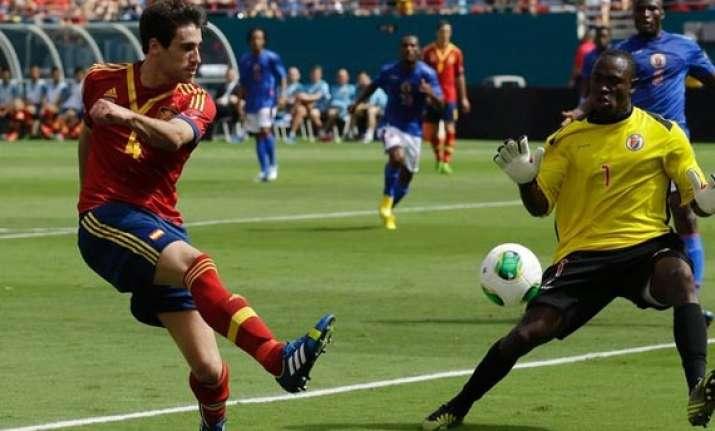 world cup champ spain edges haiti 2 1 in friendly