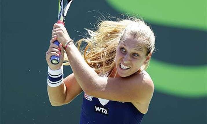 dominika cibulkova beats radwanska in sony open quarters.