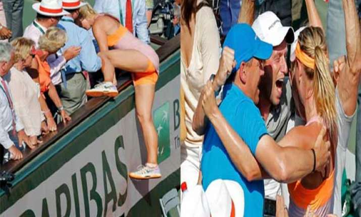 how sharapova climbed the stand to meet her dear ones after