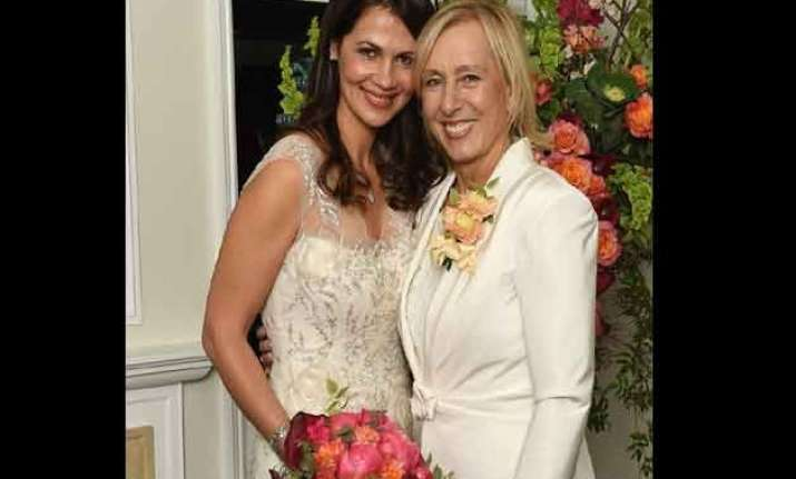 martina navratilova becomes mrs ties knot with julia