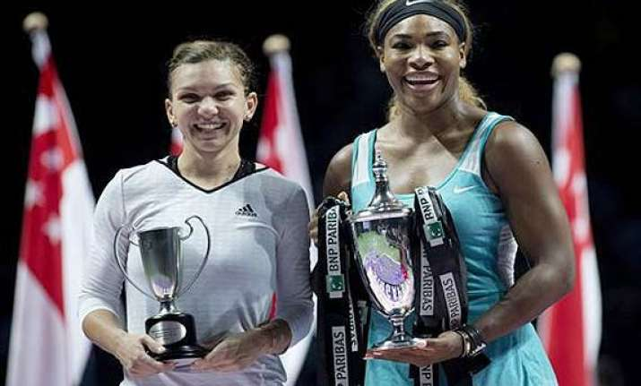 wta finals serena williams beats simona halep to win title