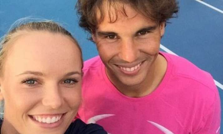 nadal shares selfie with caroline wozniacki before