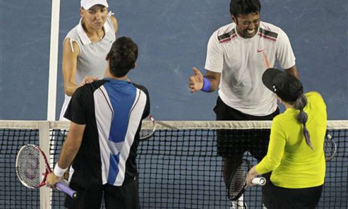 paes vesnina pair ends runner up in aus open mixed doubles