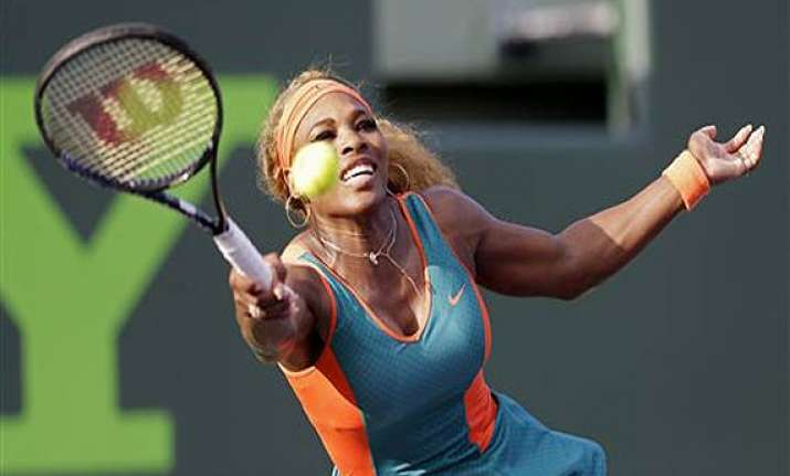 serena williams wins opening match at sony open.