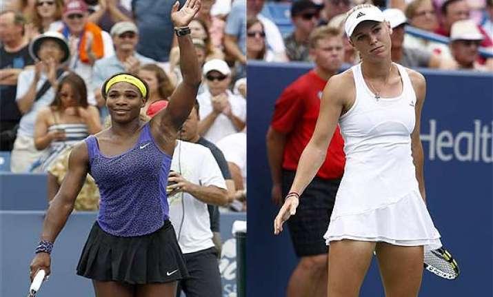 serena williams edges wozniacki to reach cincinnati final