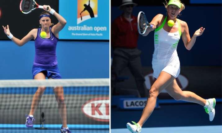 sharapova kvitova set up aussie open semifinal