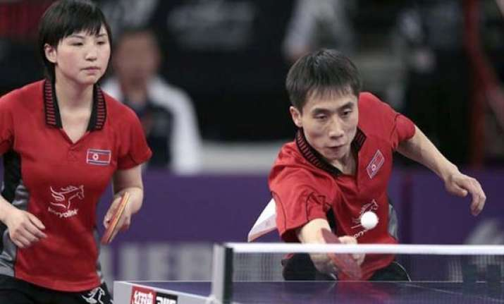 table tennis worlds pr koreans win mixed doubles
