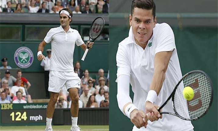 wimbledon milos raonic lines up semifinal clash with roger