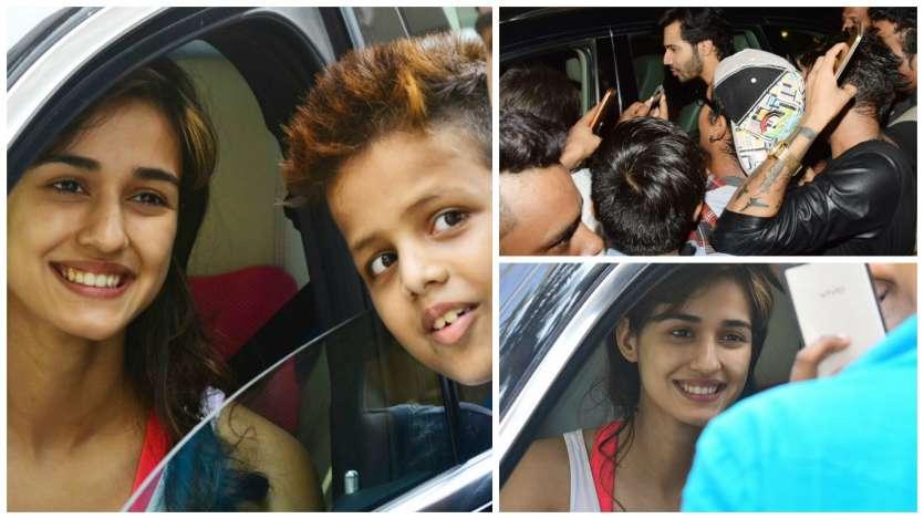 Fans have selfie moments with Disha Patani and Varun Dhawan