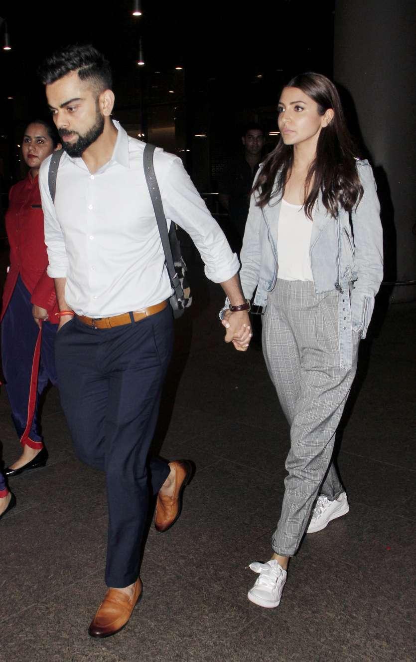 Anushka Sharma And Virat Kohli Arrive Hand In Hand At Mumbai