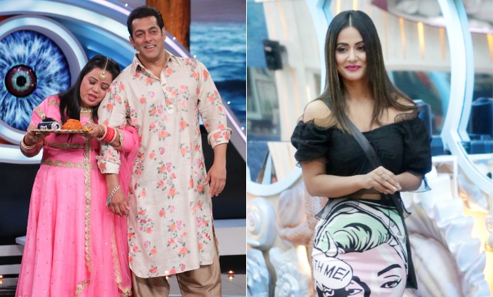 Image result for hina khan with salman khan set of bigg boss 12