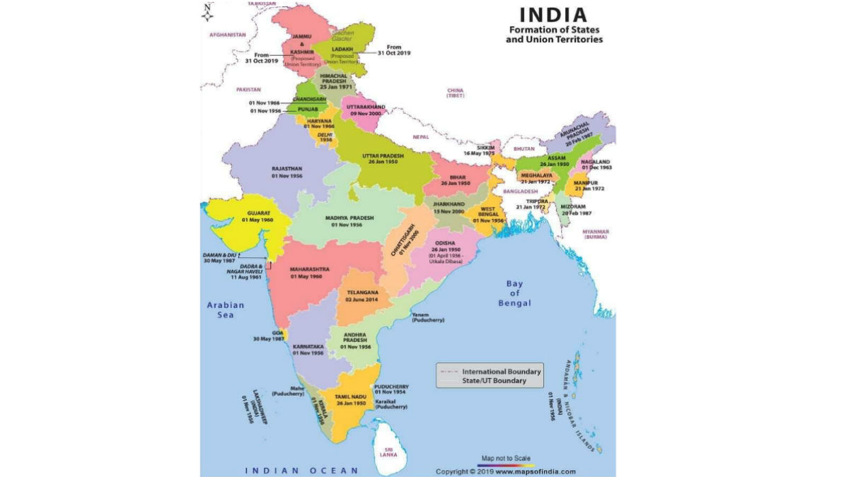 seven 7 union territories of india in map India Remapped Here S The Revised List Of States And Uts seven 7 union territories of india in map
