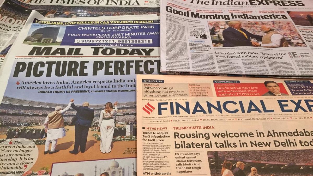 Trump In India Newspaper Headlines On Potus Visit India News India Tv
