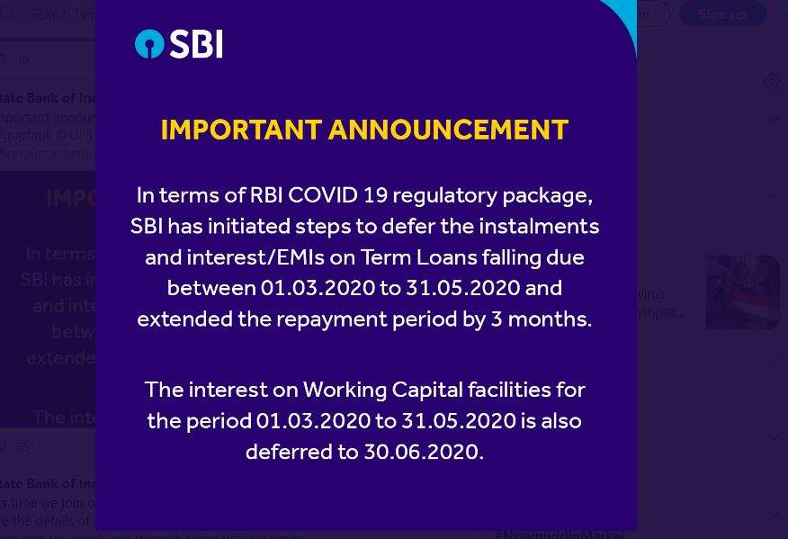 SBI Alert! SBI Bank announces 3-month EMI moratorium. Check how it impacts  your loan and its total payout | Business News – India TV