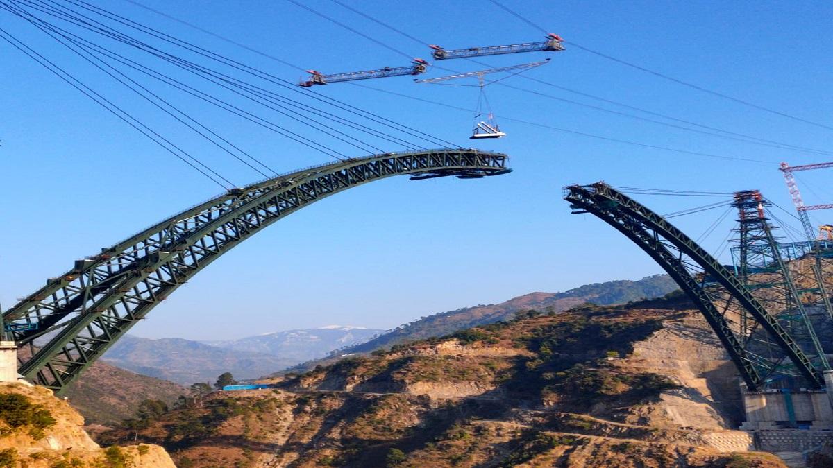 Udhampur Srinagar Baramulla rail link new photos chenab bridge anji bridge  piyush goyal  