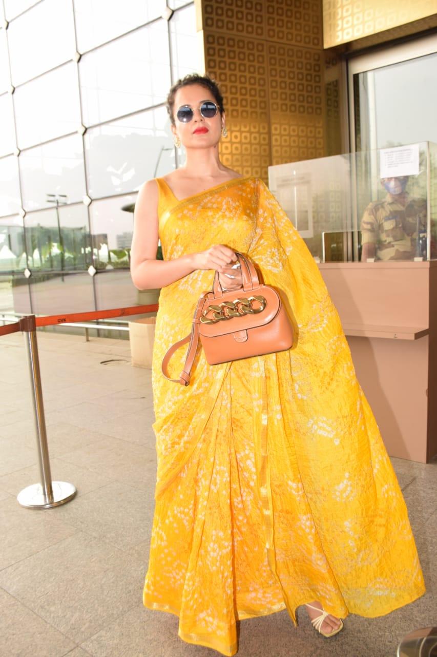 PICS: Kangana Ranaut stuns in yellow bandhani saree, talks about being 'ultranationalist' | Celebrities News – India TV