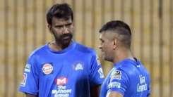 Chennai Super Kings bowling coach L Balaji and skipper MS Dhoni