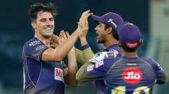 KKR pacer Pat Cummins celebrates a Rajasthan Royals wicket with teammates